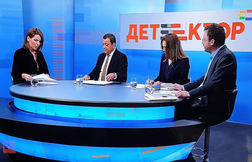 """Marijana Andric in a debate on business climate with vice president Kocho Angjushev"""